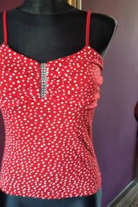 Czerwona bluzeczka białe groszki pin up retro rockabilly...