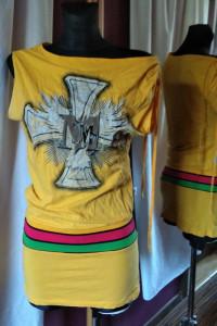 żółta tunika z nadrukiem krzyż paski ściągacz boho hippie...