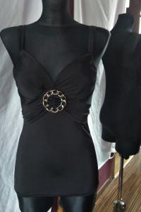 Czarna bluzka na ramiączkach łańcuch metal emo gothic lolita...