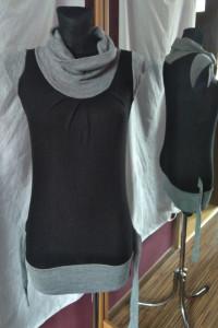 Czarno szary golf tunika sweterkowy golf z krótkim rękawem