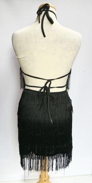 Suknie i sukienki Sukienka Czarna Odkryte Plecy Frędzle Shein S 36 Frędzelki