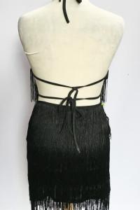 Sukienka Czarna Odkryte Plecy Frędzle Shein S 36 Frędzelki...