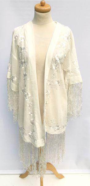 Pozostałe Narzutka Kremowa Hafty Frędzle Plażowa Bik Bok M 38 Kimono