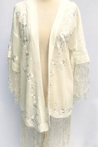 Narzutka Kremowa Hafty Frędzle Plażowa Bik Bok M 38 Kimono
