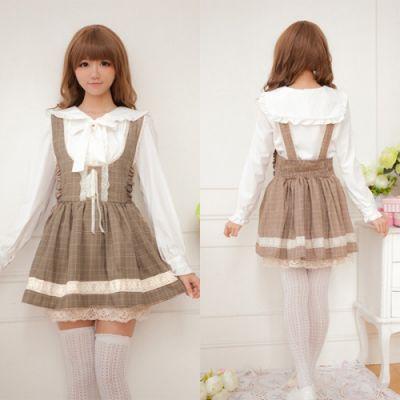 Suknie i sukienki Sukienka Sweet Lolita Sukienka Na Szelkach w Kratkę Kawaii Harajuku
