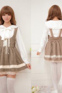 Sukienka Sweet Lolita Sukienka Na Szelkach w Kratkę Kawaii Harajuku