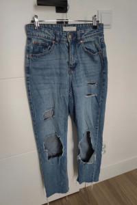 Jeansowe mom jeansy boyfriend XS s z dzourami...