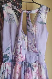 Długa liliowa sukienka w kwiaty M L...