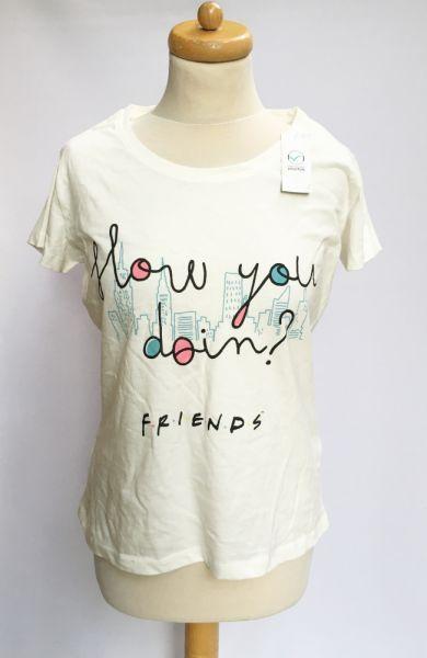Bluzki Bluzka NOWA T Shirt Friends S 36 Kremowa Koszulka