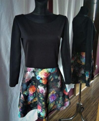 Suknie i sukienki Sukienka w róże kwiaty floral flowers z długim rękawem