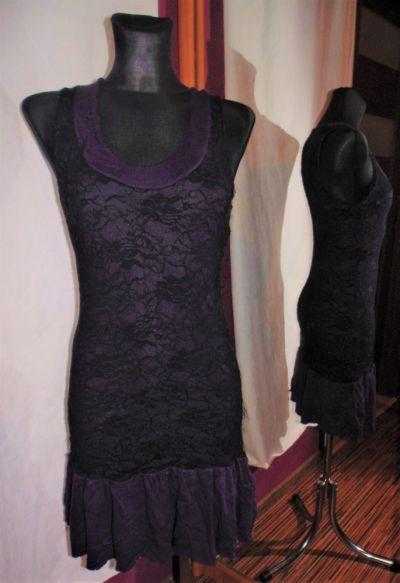 Suknie i sukienki Fioletowo czarna sweterkowa sukienka z koronką dopasowana