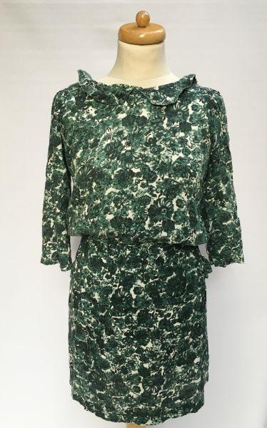 Suknie i sukienki Sukienka Kwiaty Zielona Ganni XS 34 Kwiatki Elegancka