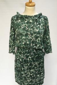 Sukienka Kwiaty Zielona Ganni XS 34 Kwiatki Elegancka