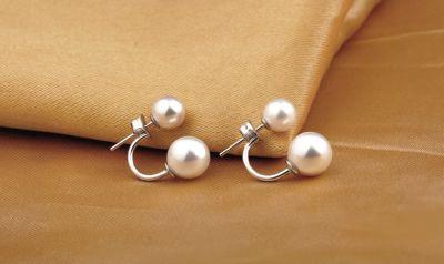 Kolczyki Nowe kolczyki z perelkami perly srebrne srebro 925 podwójne eleganckie