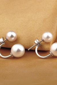 Nowe kolczyki z perelkami perly srebrne srebro 925 podwójne eleganckie