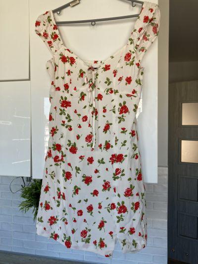 Suknie i sukienki Zara sukienka letnia kwiaty floral róże
