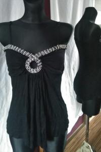 Czarna bluzka z łańcuchem na ramiączkach Amisu XS goth rock...