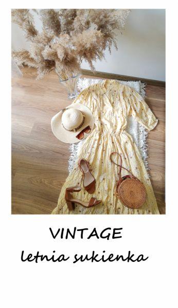 Suknie i sukienki Letnia vintage sukienka w kwiaty XL XXL długa maxi