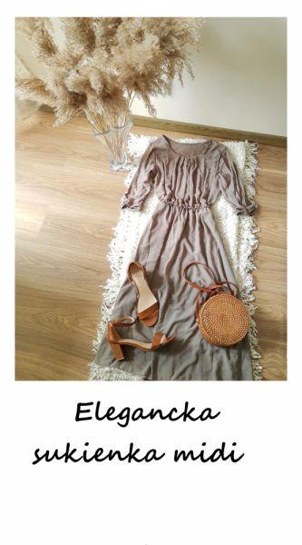 Suknie i sukienki Kawowa sukienka midi do pracy na co dzień elegancka
