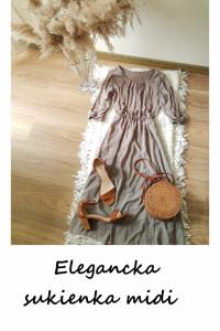 Kawowa sukienka midi do pracy na co dzień elegancka...