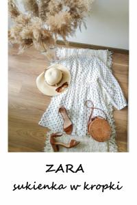 Biała sukienka w kropki ZARA krótka mini balonowe rękawy...