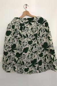 Spódnica biała w zielone wzory...