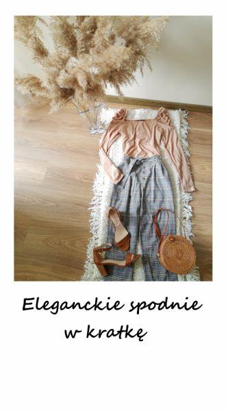Spodnie Vintage spodnie w kratkę cygaretki chinosy z paskiem z wiązaniem
