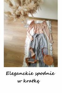 Vintage spodnie w kratkę cygaretki chinosy z paskiem z wiązanie...