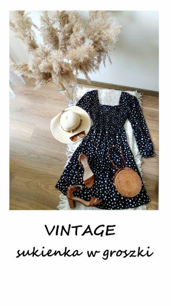 Suknie i sukienki Vintage czarna sukienka w groszki w kropki 44 46 balonowe rękawy midi must have