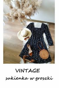 Vintage czarna sukienka w groszki w kropki 44 46 balonowe rękaw...