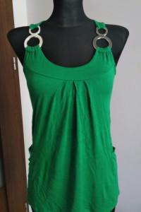Zielona bluzka M L z cyrkoniami cyrkonie kieszonki kieszenie...