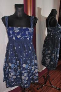Granatowa wzorzysta letnia sukienka kropki odcinana ciążowa...