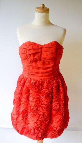 Suknie i sukienki Sukienka Czerwona H&M M 38 Garden 3D Róże