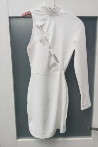 Sukienka biała na jedno ramię xxs 32 z wycięciami głęboki dekolt