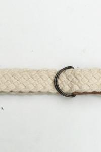 Pasek Kremowy Pleciony Warkocz 112 cm Materiałowy