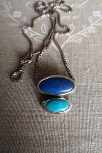 Naszyjnik piekny z turkurem i lapis lazuli