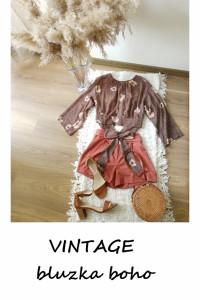 Brązowa boho hippie bluzka w kwiaty vintage z wiązaniem M...
