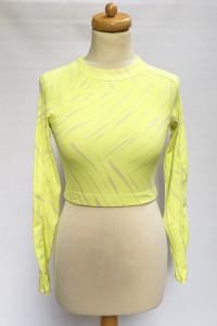 Bluzka Top H&M Sport Neonowy Żółta S 36 Wzory Sportowa