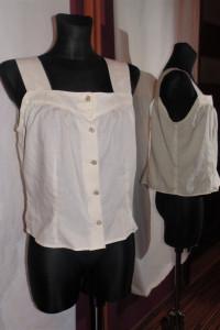 Biała kremowa bluzka koszulka na guziczki vintage retro...