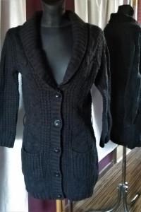 Czarny sweter na guziki kardigan Blue Motion 36 38 długi...