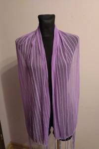 Fioletowa liliowa chusta apaszka z frędzlami frędzle prążki