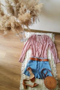 Bluzka Zara Basic z falbaną w paski wiskoza...