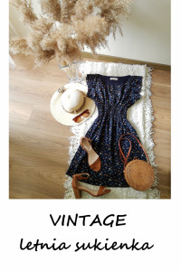 Vintage granatowa sukienka S M letnia