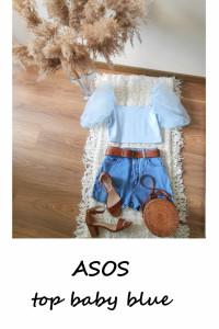 ASOS błękitny top bufiaste rękawy L XL baby blue