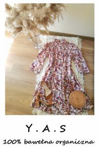 Nowa sukienka YAS oversize vintage bawełna organiczna kwiaty stójka M L