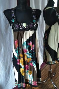 Oryginalna sukienka hippie vintage kamienie zdobienia L XL...