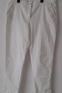 Białe spodnie z wysokim stanem zwężane nogawki 46...