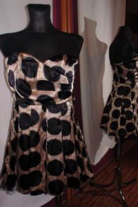Złoto czarna sukienka w grochy L tiul pin up retro vintage