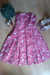 Sukienka różowa biała złota rozkloszowana gorsetowa bez rękawów...
