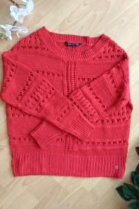 Ażurowy sweter oversize czerwony 34 xs